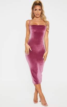 PrettyLittleThing Plum Velvet Strappy Midi Dress