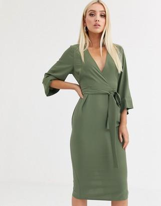 Asos Design DESIGN kimono sleeve v neck midi pencil dress-Green