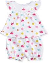 Kissy Kissy Deep Sea Delight Printed Top w/ Bloomers, Pink/White, Size 3-24 Months