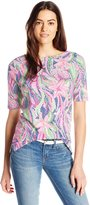 Caribbean Joe Women's Dot Print Cotton Spandex Elbow Sleeve Boatneck Tee Shirt