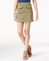 Celebrity Pink Juniors' Button-Front Cargo Denim Skirt