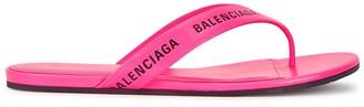 Balenciaga Pink logo leather sandals