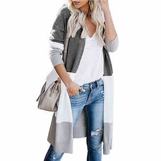 UNIFACO Cardigans for Women Long Open Front Knitted Cardigan Sweater Ladies Autumn Colorblock Casual Coat Tops UK Size 20-22