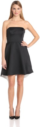Halston Women's Strapless Colorblock Dress with Back Fold Detail