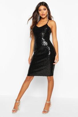 boohoo Sexy Sequin Strappy Midi Dress
