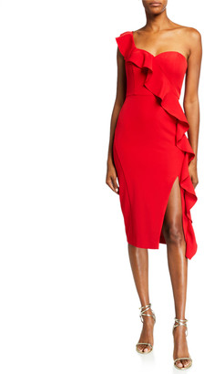 Aidan Mattox Asymmetric Ruffle One-Shoulder Crepe Dress