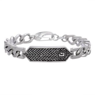 Ben Sherman Men's Stainless Steel Curb Chain Bracelet with Black and White Herringbone Design ID Plate