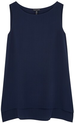 Eileen Fisher System Navy Silk Crepe Top