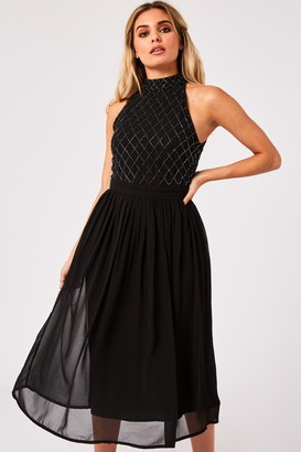 Little Mistress Bridesmaid Charli Black Hand-Embellished Midi Dress