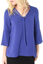 Kensie Three Quarter Sleeve Luxury Crepe Blouse