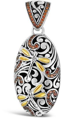 Devata Sweet Dragonfly Classic Sterling Silver Embellished 18K Gold & Orange CZ Dragonfly Wings Pendant