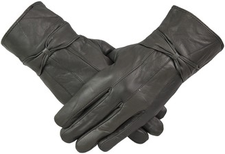 By Neki Womens Leather Gloves With Bow Design Warm Winter Fleece Lined All Size M L XL Christmas Gift (GREY M)