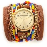 Sara Designs Beaded & Leather Wrap Watch