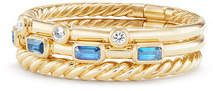 David Yurman Novella 18k Three-Row Ring with Tanzanite & Diamonds, Size 8