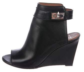 Givenchy Peep-Toe Leather Wedges