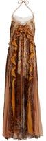 Chloé Halterneck chain-detail silk gown