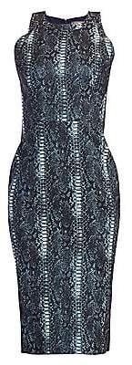 Zac Posen Women's Snakeskin-Print Metallic Jacquard Cocktail Dress