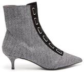 Tabitha Simmons Quin Herringbone Ankle Boots - Womens - Black White