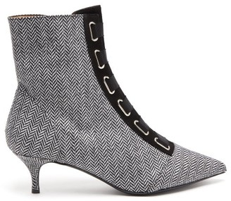 Tabitha Simmons Quin Herringbone Ankle Boots - Black White