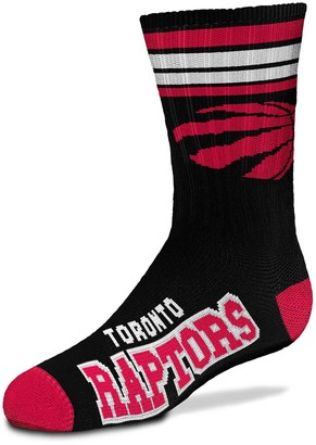 Youth For Bare Feet Toronto Raptors 4-Stripe Deuce Quarter-Length Socks