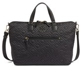 Tory Burch 'Ella' Quilted Nylon Satchel - Black