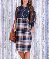 JET Black & Blue Plaid-Contrast Sheath Dress