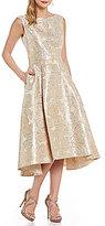 Katherine Kelly Pearl Jacquard Hi-Low Midi Dress