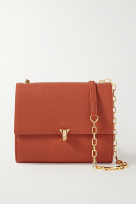 THE VOLON Po Moon Textured-leather Shoulder Bag - Brick