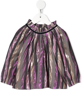 Velveteen Pleated Striped Blouse