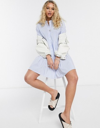 Only poplin shirt dress in blue stripe