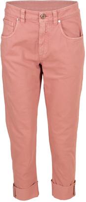 Brunello Cucinelli Pink Cuffed Garment Dyed Jean