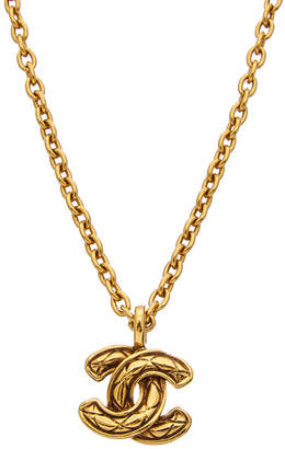 Chanel Gold-Tone Quilted Cc Necklace