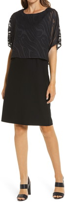 Ming Wang Burnout Overlay Stretch Crepe Shift Dress