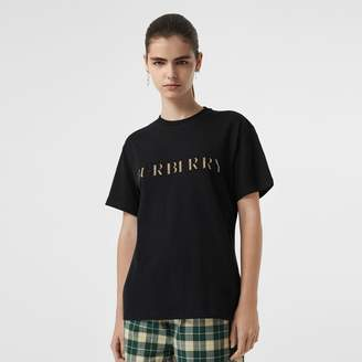 Burberry Embroidered Check Logo Cotton T-hirt