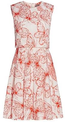 Lela Rose Butterfly-Print Cotton Poplin Dress