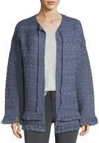 Current/Elliott The Cable-Knit Chevron Cotton Sweater w/ Fringe