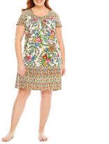 Asstd National Brand Knit Pattern Nightgown-Plus
