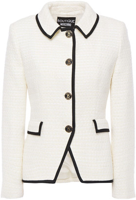Boutique Moschino Grosgrain-trimmed Logo-embellished Wool-blend Tweed Jacket