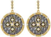 Freida Rothman Hammered Flower CZ Dangle Earrings