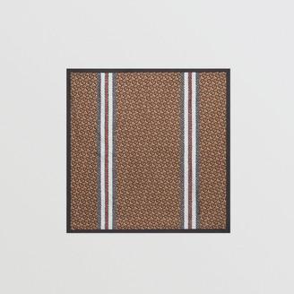 Burberry Monogram Stripe Print Silk Square Scarf