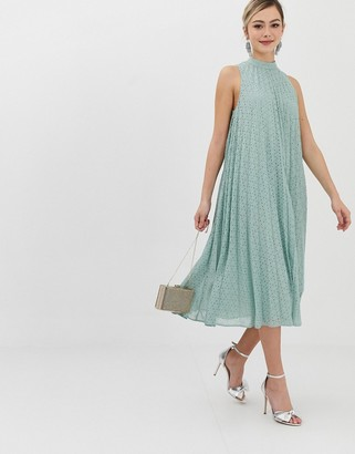 Asos Design DESIGN premium high neck pleated trapeze broderie midi dress-Green