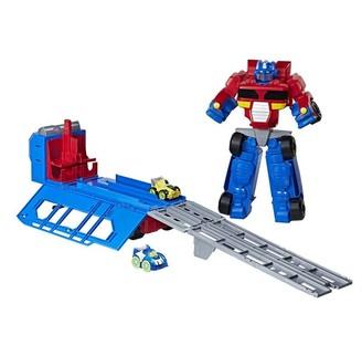 Transformers Playskool Heroes Flip Racers Optimus Prime Race Track Trailer Playset