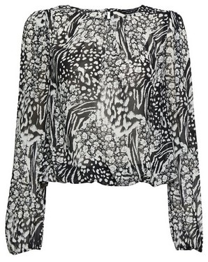 Dorothy Perkins Womens Monochrome Tiger And Floral Print Balloon Sleeve Blouse