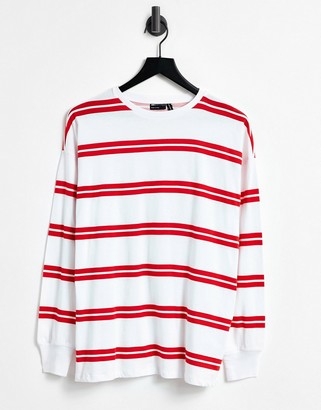 ASOS DESIGN long sleeve t-shirt with cuff and double stripe in white
