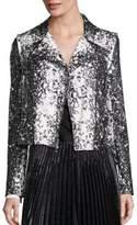 Diane von Furstenberg Joneva Splatter-Print Leather Moto Jacket