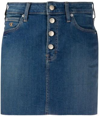 Calvin Klein Jeans Frayed Hem Denim Skirt