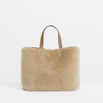 Theory Micro Tote in Colored Shearling