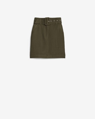 Express High Waisted Belted Linen-Blend Mini Skirt