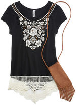 Beautees Short-Sleeve Top with Puff Embroidery and Lace Hem with Faux Suede Cell Phone Pouch - Girls 7-16