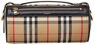 Burberry Vintage Check & Leather Barrel Bag